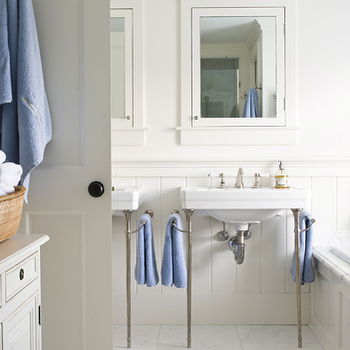bathrooms - double sinks, boys bathroom, boys bathroom design boys bathroom ideas, coastal boys bathroom, white and blue boys bathroom, framed medicine cabinets, white farmed medicine cabinets,
