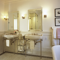 Jennifer Worts Design - bathrooms - double sinks, beveled, mirrors, porcelain sinks, polished chrome, bases, etagere, polished chrome, sconces, faucets, crown molding, white, carrara, marble, hexagon, tiles, floors,