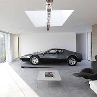 Luxury 4 Play - garages - garage, concrete, floors, skylight, windows, modern, sitting area,  Gorgeous chic garage, large windows, concrete floors,