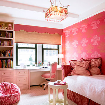 Jennifer Flanders Interior Design - girl's rooms - daybed, velvet daybed, red velvet daybed, upholstered daybed, kids daybed, girls daybed, red and pink wallpaper, valance, pink valance, scalloped valance, pink scalloped valance, pink bean bag, built in desk, kids desk, girls desk, pink desk chair, pink task chair,