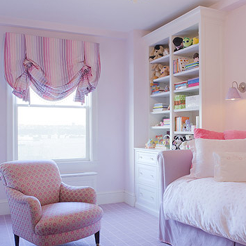 Jennifer Flanders Interior Design - girl's rooms - purple daybed, rolled arm daybed, pink pillows, purple rug, purple girls room, purple girls bedroom,