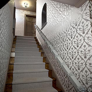 Evelyn Chin Design - entrances/foyers - metallic wallpaper, silver metallic wallpaper, gray metallic wallpaper, gray runner, gray stair runner,