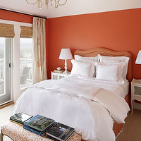 Jennifer Flanders Interior Design - bedrooms: orange, walls, bamboo, roman shades, pagoda, chandelier, orange, headboard, nailhead trim, french, nightstands, orange, bench, lamps, ivory, orange, pinch pleat, drapes, pagoda chandelier, white pagoda chandelier, chinoiserie chandelier,