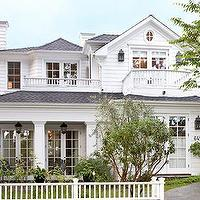 Traditional Home - home exteriors - white, picket, fence, gray, shingles, lanterns, balcony,  Gorgeous home exterior, gray shingles white picket
