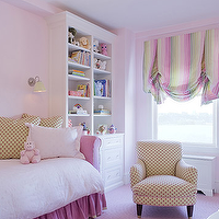Jennifer Flanders Interior Design - girl's rooms - pink daybed, skirted daybed, ruffled daybed, ruffle daybed, pink skirted daybed, pink ruffle daybed, pink ruffle daybed, pink girls room, pink girls bedroom, pink and green roman shades,