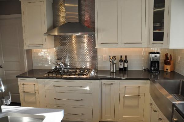 stainless steel subway tiles contemporary kitchen