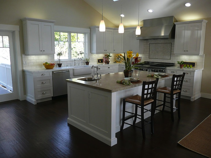 White kitchen cabinets dark wood floors transitional for White floor kitchen cabinets