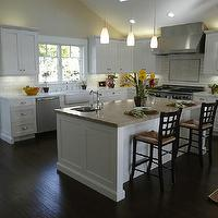 kitchens - white, kitchen, cabinets, gray counter, dark floors, subway, tiles, backsplash, espresso, floors, white kitchen cabinets dark wood floors,