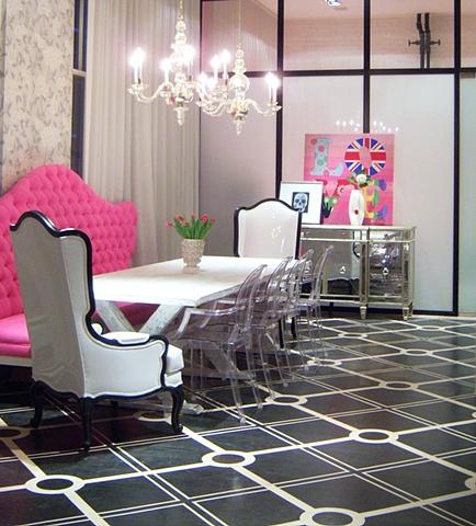 Liv Chic Interior Design - dining rooms - Hilary White, Liv-Chic, Modern Baroque, Pink, Dining Room, Lucite Chairs, Mirrored buffet, Chandelier, Tufted, Black and White, Punk, Love, pink bench, tufted bench, pink tufted bench, pink banquette, tufted banquette, pink tufted banquette, pink banquette,