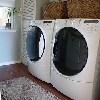 laundry/mud rooms - silver sage, cabinets over washer and dryer, cabinets above washer and dryer,  laundry/mud room  white washer & dryer, closet,