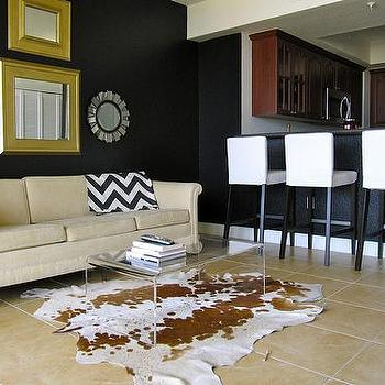 miscellaneous - Valspar - New Black - black wall living room, lucite table, vintage bar cart, ikea barstools,  living room  black walls, living