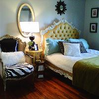 bedrooms - Adelle, Bed, Baroque bed, Yellow, Canary, Leather, Black Patent Black and White, Zebra,  Home of Hilary White, Owner of Liv-Chic Furniture