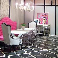 Liv Chic Interior Design - dining rooms: Hilary White, Liv-Chic, Modern Baroque, Pink, Dining Room, Lucite Chairs, Mirrored buffet, Chandelier, Tufted, Black and White, Punk, Love, pink bench, tufted bench, pink tufted bench, pink banquette, tufted banquette, pink tufted banquette, pink banquette,