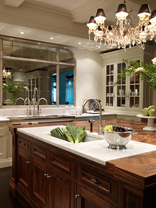 House & Home - kitchens - wood color, calcutta, marble, countertops, cutting board, walnut, stained, island, ivory, glass-front, kitchen, cabinets, crystal, chandelier,