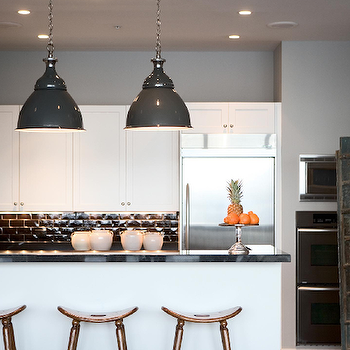 Buckingham Interiors - kitchens - gray pendants, gray light pendants, grey light pendants, grey industrial pendants, gray industrial pendants, gray paint, gray wall paint, gray walls, black subway tiles, black subway tile backsplash, black subway tiled kitchen,