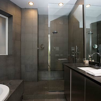 Bellfia - bathrooms - gray slate tile, gray slate tile floor, gray slate bathroom floor, slate bathroom floor, gray slate tile shower, gray slate bathroom, gray slate tile shower surround, charcoal slate tile, modern gray bathroom, glass shower partition, shower partition,