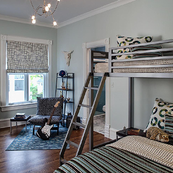 Buckingham Interiors - boy's rooms - bunk beds, metal bunk beds, bunk bed ladder,  Blue & gray boy's bedroom design with blue gray walls paint