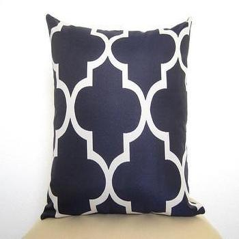 Lattice Work Designer Pillow / 18 inch / Navy by WillaSkyeHome