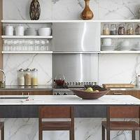 3rd Uncle Design - kitchens - contemporary kitchen, contemporary kitchen design, contemporary kitchen ideas, kitchen shelving, white marble backsplash,