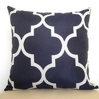 Pillows - Lattice Work Designer Pillow / 18 inch / Navy by WillaSkyeHome - pillow, trellis pillow