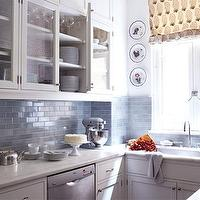 House Beautiful - kitchens - blue, subway, tiles, backsplash, calcutta, marble, countertops, white, glass-front, kitchen, cabinets, decorative plates, blue subway tile backsplash, blue subway tile, blue subway tile kitchen, blue subway tile backsplash, blue subway tile kitchen,