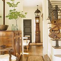 Westbrook Interiors - entrances/foyers - vintage, mirror, rustic, chest, cabinet, chair, recycled, glass, vases, iron, lantern, pendant, black, door, grandfather clock,