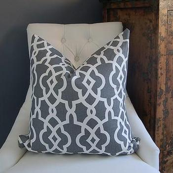 Pillows - Schumacher Summer Fret Palace pillow 22sq in Smoke by woodyliana - Schumacher, Summer Fret Palace, pillow