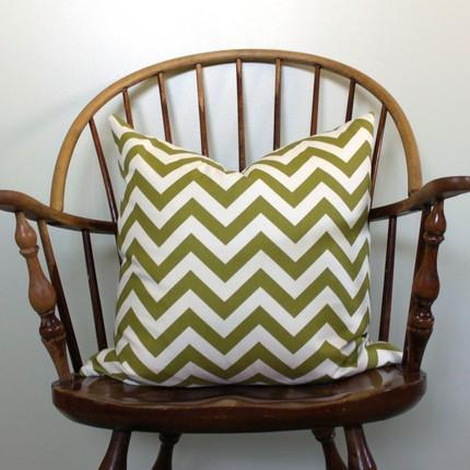 Pillows - GREEN CHEVRON STRIPE by modernthread on Etsy - green, chevron, pillow