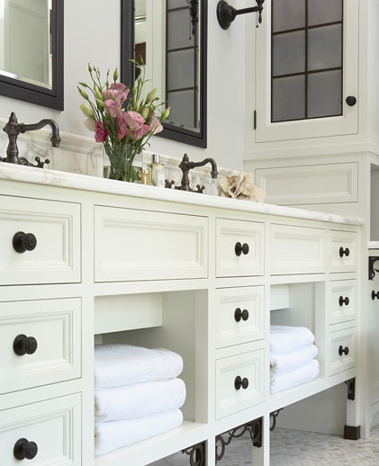 Susan Gilmore Photography - bathrooms - ivory, bathroom, cabinets, calcutta gold, marble, countertops, black, mirrors, white, carrara, marble, hexagon, tiles, floor, oil rubbed bronze, faucets, hardware, sconces,