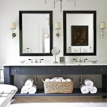 Double Vanity Ideas, Contemporary, bathroom, Benjamin Moore Graphite, Amy D. Morris Interiors