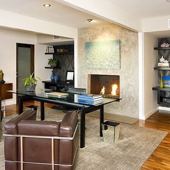 Office with Fireplace, Contemporary, den/library/office, Jeff Lewis Design