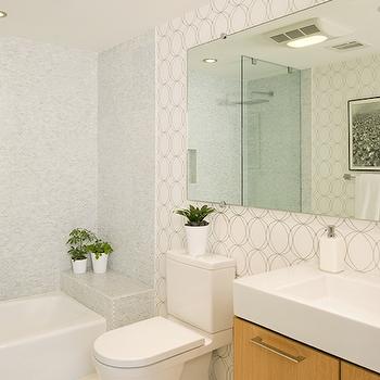 Darcy Wallpape r- Contemporary, bathroom, Jeff Lewis Design