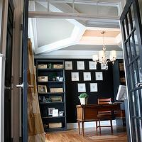 dens/libraries/offices - Benjamin Moore - Onyx Black - black walls, ceiling detail, coffered ceiling, hardwood floors, black walls, black paint, black paint color,