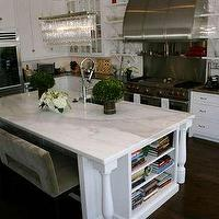 kitchens - kitchen, white, crystal linear chandelier, leaann rimes, calcutta, marble, glass-front, cabinets,  Lea Ann Rimes kitchen  white glass