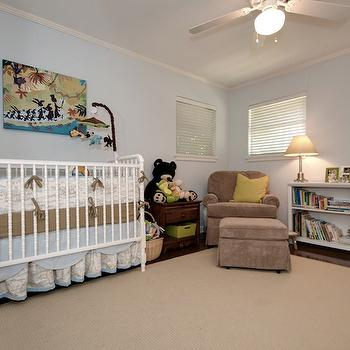 nurseries - nursery paint, nursery paint colors, blue nursery paint, blue nursery paint colors, boys nursery paint, boys nursery paint colors, scalloped crib bedding, blue and brown crib bedding, brown nursery glider,