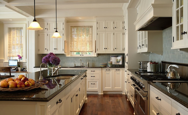 Rehkamp Larson Architects - kitchens - blue, gray, glass, subway, tiles, backsplash, ivory, glass-front, cabinets, oil rubbed bronze, hardware, black, granite, countertops, bamboo, roller shades,