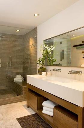Modern Trough Sink - Contemporary - bathroom - Brown Design