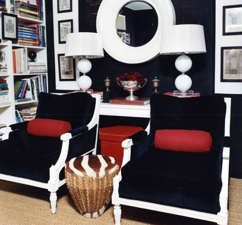 Navy Blue Chairs Contemporary Den Library Office