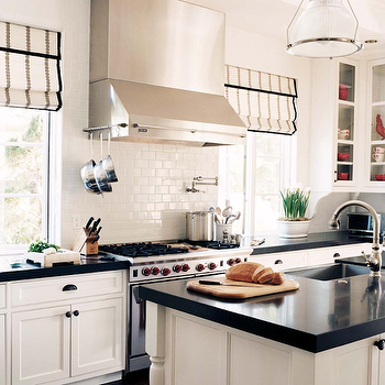 DeCesare Design Group - kitchens - roman shades, black and white roman shades, white and black roman shades, greek key roman shades, white cabinets with black countertops, white kitchen cabinets with black countertops, subway tiled backsplash, subway tiled kitchen,
