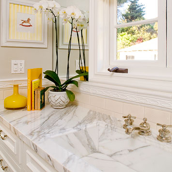 Brown Design - bathrooms - ccalcutta marble countertop, calcutta marble sink, calcutta marble bathroom, white marble sink, white marble bathroom sink, yellow accents, yellow room accents, yellow bathroom accents, yellow bathroom accents,