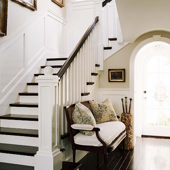 Joe Schmelzer - entrances/foyers - settee, foyer, foyer settee, umbrella stand, arched doorway wainscoting, staircase wainscoting,  Gorgeous