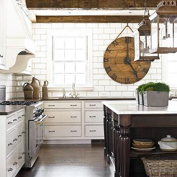 Amy D. Morris Interiors - kitchens - wood beams, exposed wood beams, exposed beams ceiling, exposed wood beams ceiling, rustic wood beams, rustic beams ceiling, rustic wood beams ceiling, two tone kitchen, kitchen island lanterns, inset cabinets, inset kitchen cabinets, island with turned legs,