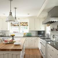 Susan Gilmore Photography - kitchens - black, quartz, butcher block, countertops, white, kitchen cabinets, white, carrara, marble, subway, tiles, backsplash, white, vintage, stove, scalloped, hood, pendants, roman shades,
