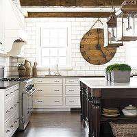 Amy D. Morris Interiors - kitchens - calcutta, gold, marble, countertop, beveled, subway, tiles, walnut, island, exposed, rustic, wood, beams, lanterns, wood beams, exposed wood beams, exposed beams ceiling, exposed wood beams ceiling, rustic wood beams, rustic beams ceiling, rustic wood beams ceiling,