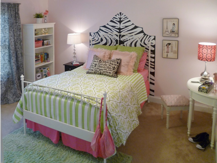 Zebra Headboard Transitional Girl S Room Sherwin Williams Demure Full Nest Design Studio