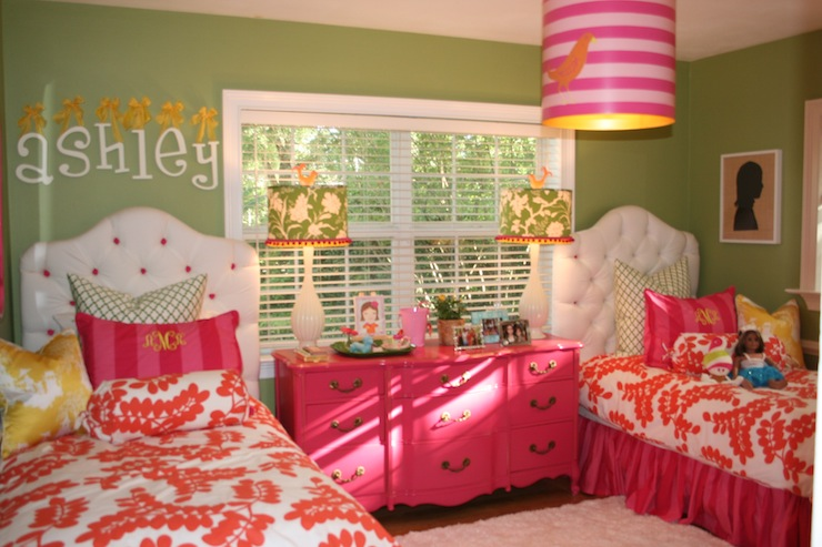 Pink Dresser - Contemporary - girl's room - Benjamin Moore Stem Green