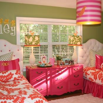 girl's rooms - pink dresser, green paint, stray dog lampsg, hot pink, furry rug, pink dresser, french dresser, pink french dresser, hot pink dresser, white tufted headboard, girls headboards, stray dog lighting, pink drum pendant, shared girls room, shared girls bedroom, pink bedskirt, hot pink bedskirt,