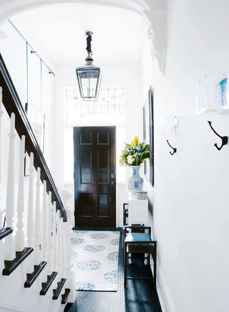 Black Foyer Doors : Black front door transitional entrance foyer house