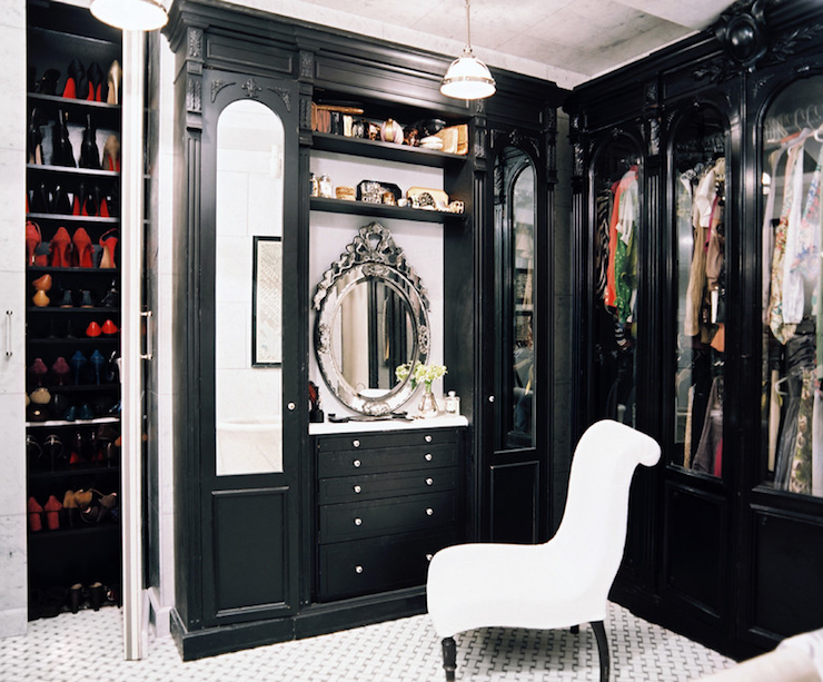 Kemble Interiors - closets - white, chair, black, cabinets, shelves, drawers, shelves, glass, pendant, venetian, mirror, black, closet,  Glamorous