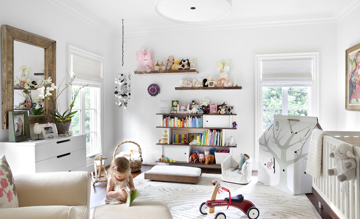 Sarah Dorio - nurseries - nursery bookcase, modern bookcase, kids bookcase,  Bradley Hughes Design - White modern white nursery design with white